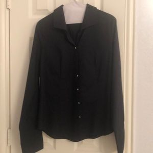 Talbots black dress shirt with rhinestone accents